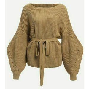 🌿LAST ONE🌿VIVA | Bishop Sleeve Belted Sweater